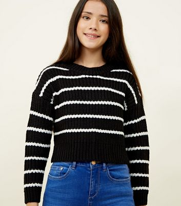 Girls Black Stripe Crew Neck Jumper