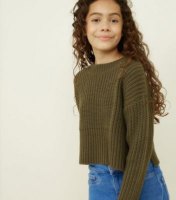 Girls Khaki Knitted Cropped Jumper