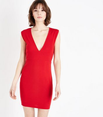 AX Paris Red V Neck Bodycon Dress