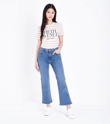 Petite Blue Cropped Kick Flare Jeans New Look