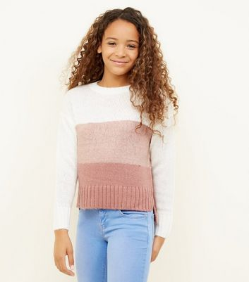 Girls - Pull rose design color block
