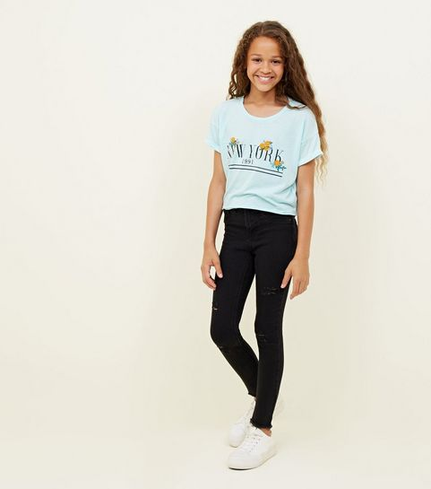 243d4323b6 ... Girls Black Ripped High Waist Skinny Jeans ...