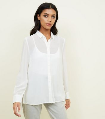 Tall Off White Step Hem Chiffon Shirt