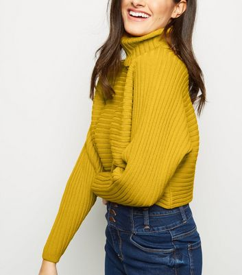 Mustard Roll Neck Boxy Cropped Jumper