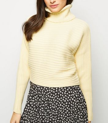 Pale Yellow Roll Neck Boxy Cropped Jumper