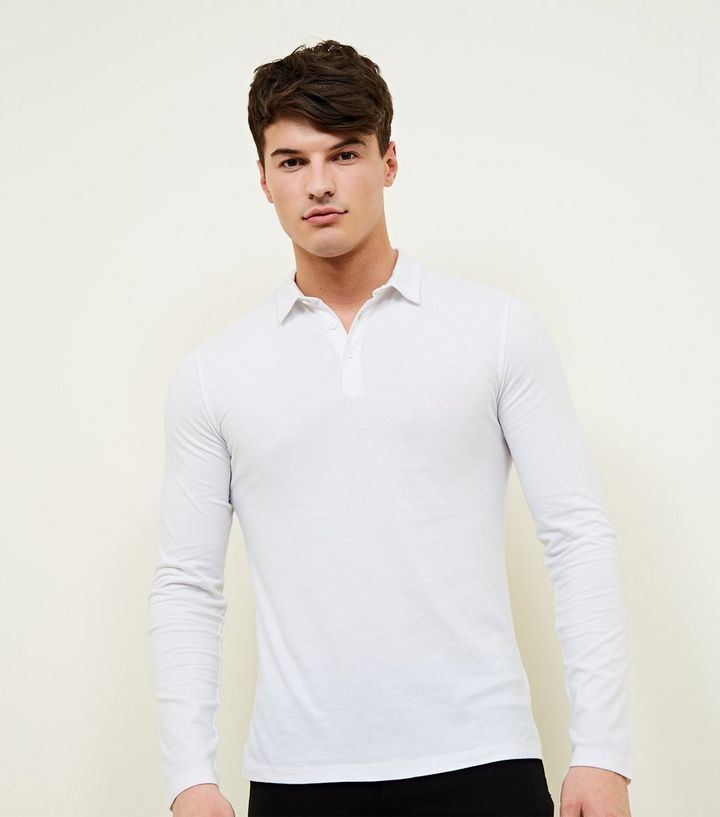 f335bcadd White Muscle Fit Long Sleeve Polo Shirt