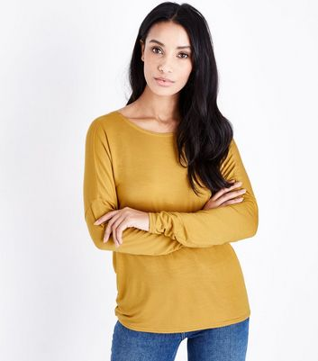 Yellow Twist Back Long Sleeve Top New Look