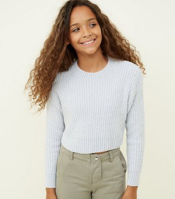 Girls Pale Blue Chenille Jumper