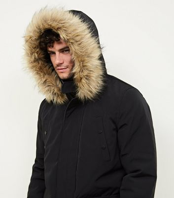 shop for Men's Black Faux Fur Trim Hooded Parka New Look at Shopo