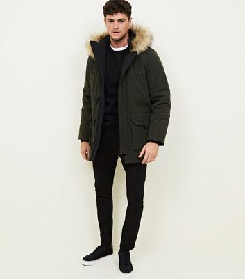 shop for Men's Khaki Faux Fur Trim Hooded Parka New Look at Shopo