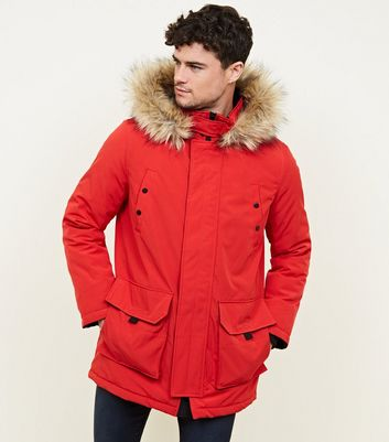 Red Faux Fur Trim Hooded Parka