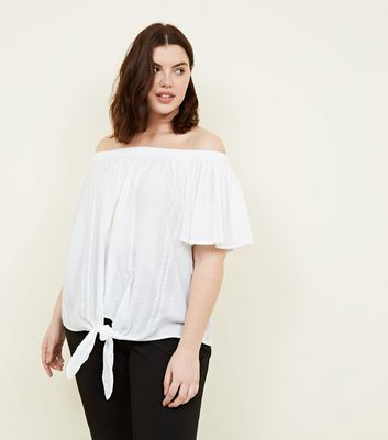 Curves White Tie Front Bardot Top