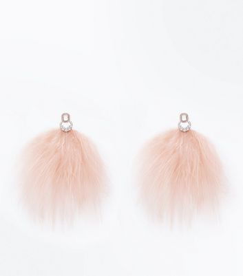 Pale Pink Feather Diamanté Embellished Earrings