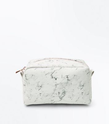 White Marble Effect Oversized Make-Up Bag