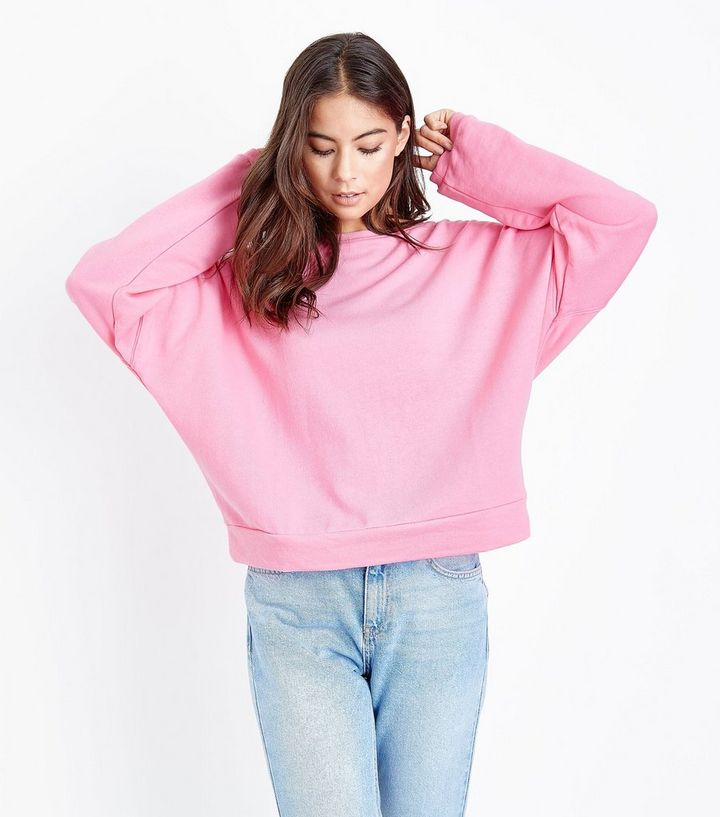 87c5391e008f Hellrosa Sweatshirt mit Fledermausärmeln   New Look