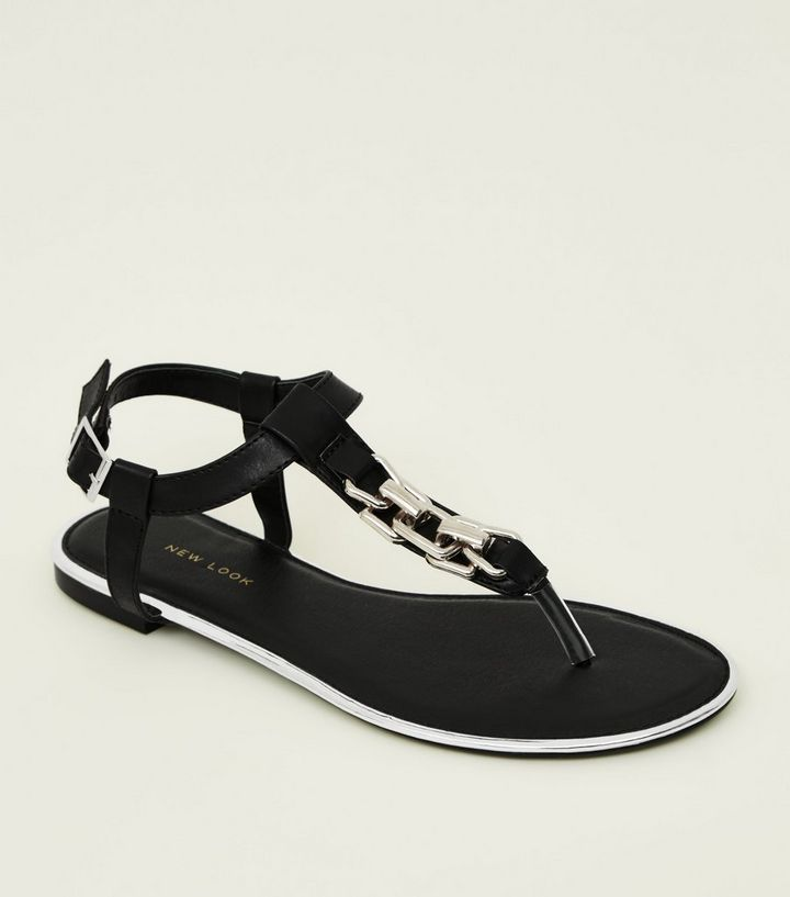 63ca5eec663d4 Black Metal Trim Chain Strap Flat Sandals Add to Saved Items Remove from  Saved Items
