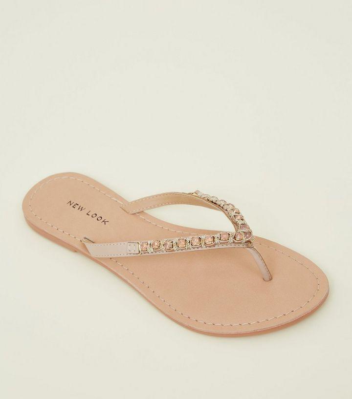 bcb767a31 Pink Leather Gem Strap Flip Flops