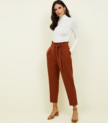 Dark Brown Tie Paperbag Waist Trousers
