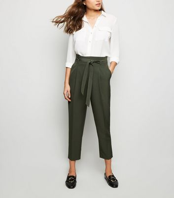 Green Paperbag Tapered Trousers