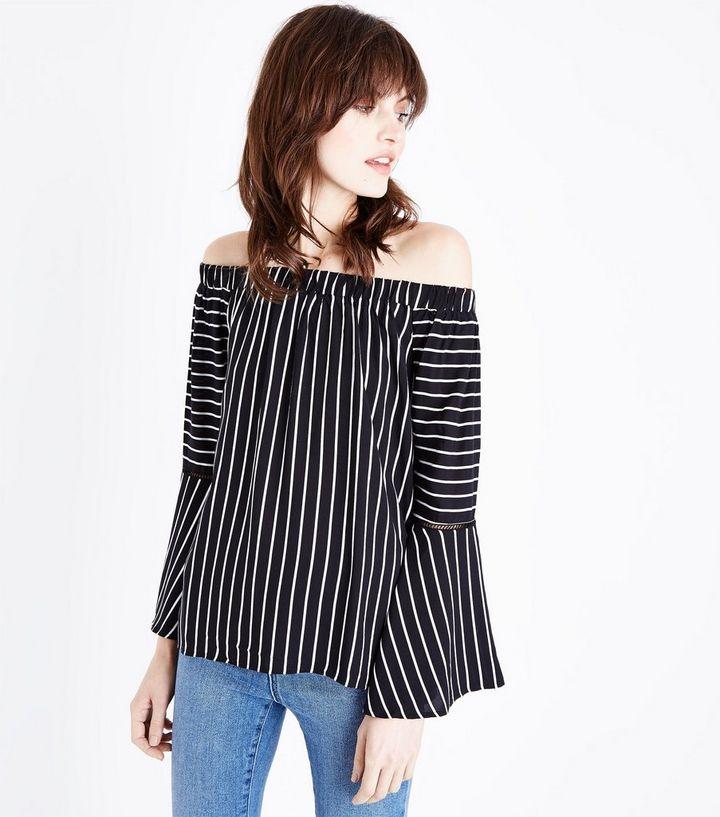 2ca4ad371fcc03 Apricot Black Stripe Bell Sleeve Bardot Top   New Look