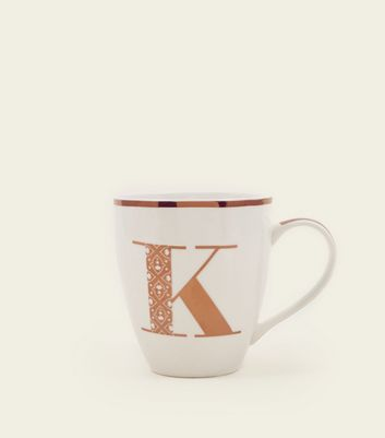White Metallic K Letter Mug