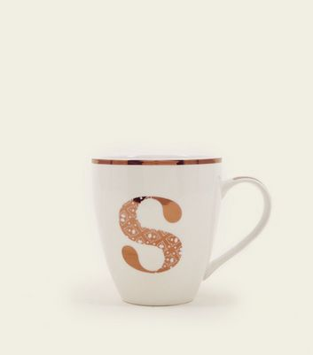 White Metallic S Letter Mug