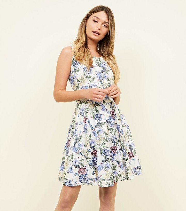 f4bd70c4ed Mela White Floral Parrot Sleeveless Dress