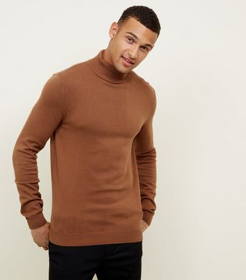 Camel Ribbed Roll Neck Jumper