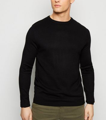 Black Textured Crew Neck Jumper