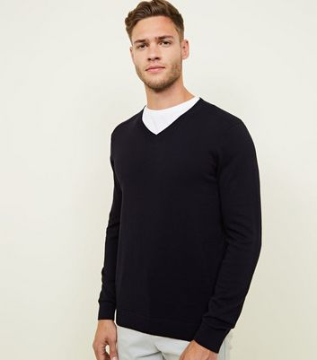 Navy V Neck Ribbed Jumper