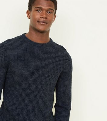 Navy Tuck Stitch Jumper