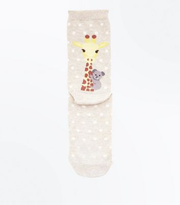 Cream Giraffe And Koala Bear Back Socks by New Look