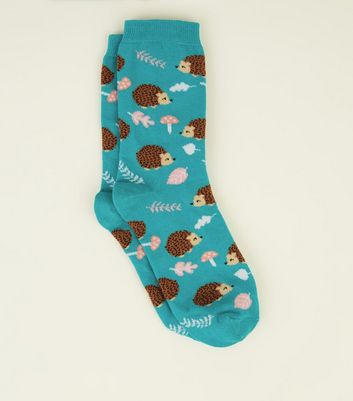 Green Hedgehog Pattern Socks