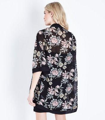 Mela Black Floral Kimono New Look