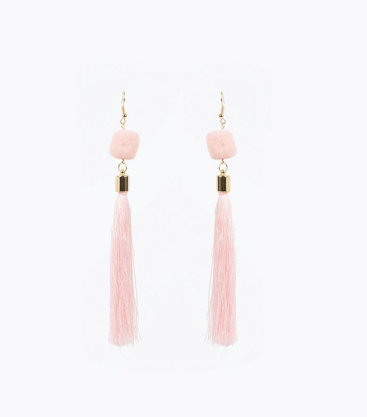 ad27973b8 Pale Pink Pom Pom Tassel Drop Earrings | New Look