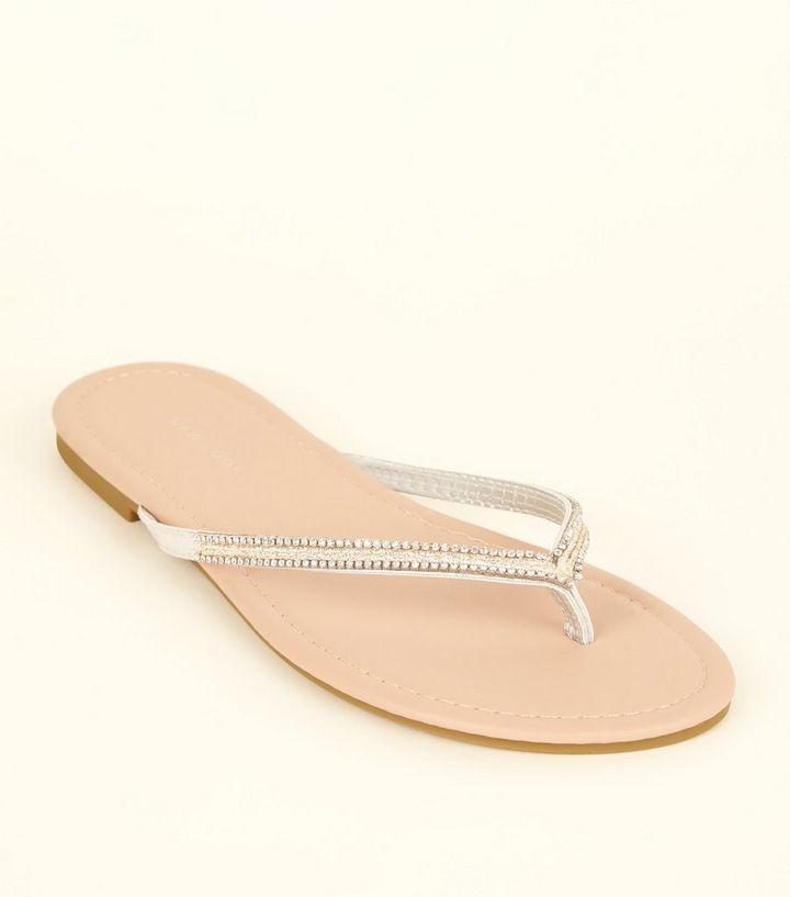 3f4b626d5 Wide Fit Silver Diamanté Strap Flip Flops