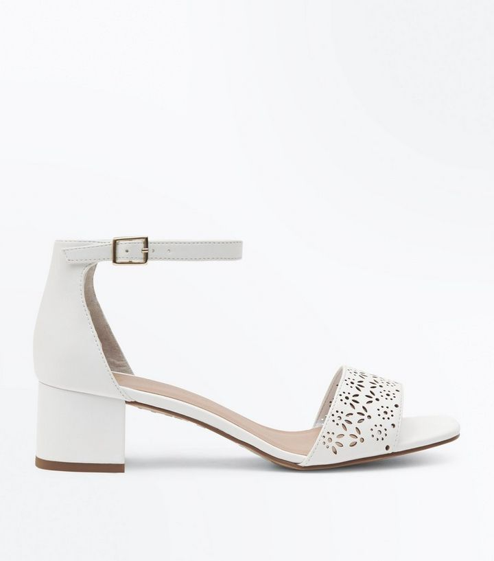 7c767859f5 Girls White Laser Cut Block Heel Sandals | New Look