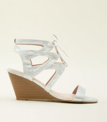 Silver Leather-Look Ghillie Lace Up Wedges