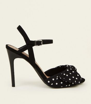 Black Polka Dot Bow Peep Toe Stiletto Sandals