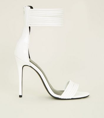 White Patent Tube Strap Stiletto Sandals