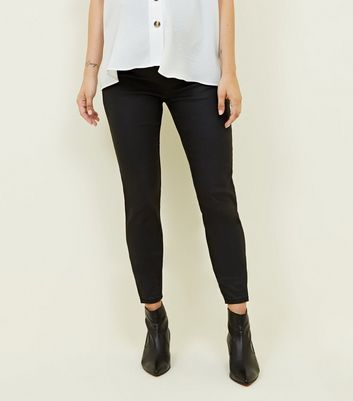 Maternity Black Over Bump Coated Jeggings New Look
