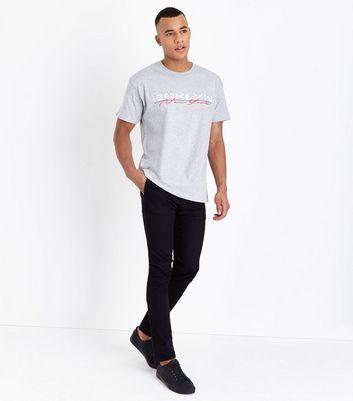 Grey Marl Brooklyn Distressed Slogan T-Shirt New Look
