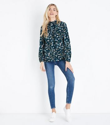 Apricot Green Floral Print High Neck Blouse New Look