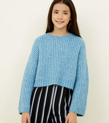 Girls Pale Blue Wide Sleeve Knitted Jumper