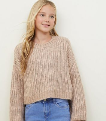 Girls Pale Pink Wide Sleeve Knitted Jumper