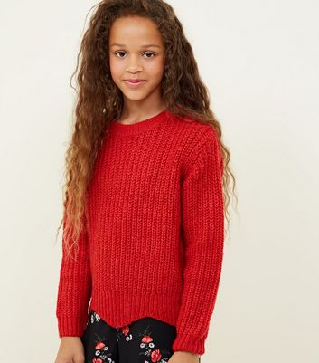 Girls Red Scallop Hem Knitted Jumper