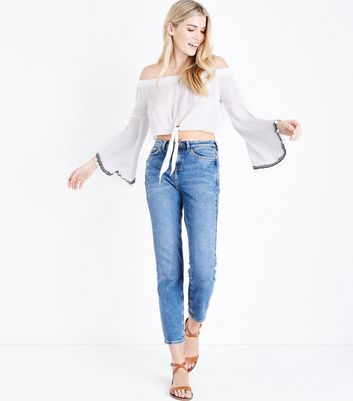 QED White Tie Front Bardot Neck Top New Look
