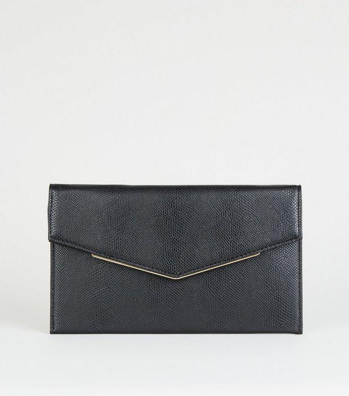 57c08bda8 Black Metal Trim Envelope Clutch Bag | New Look