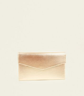 Rose Gold Metal Trim Envelope Clutch Bag