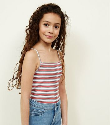 Girls Orange Stripe Ribbed Cami